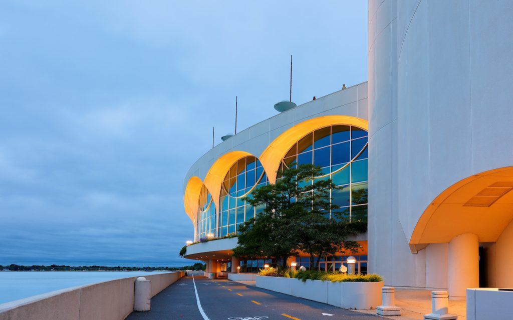 The Monona Terrace Community and Convention Center at sunrise. Originally designed by Wisconsin native Frank Lloyd Wright and was built in 1997.